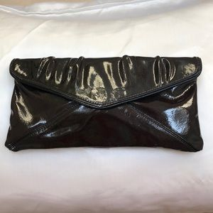 Cocoa patent leather clutch bag